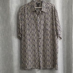 Claiborne 100% silk men's short sleeve shirt NWOT